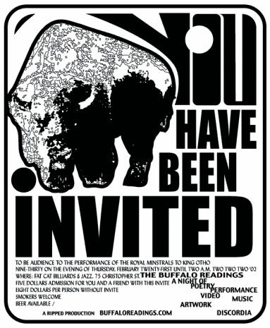 This is the invitation sent out to people for the first Buffalo Readings